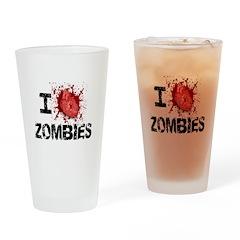 I Heart Zombies Drinking Glass
