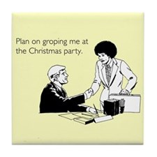 Christmas Party Groping Tile Coaster