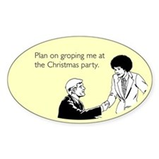 Christmas Party Groping Sticker (Oval)
