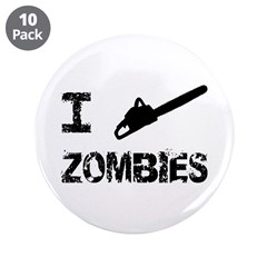 """I Chainsaw Zombies 3.5"""" Button (10 pack)"""