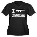 I Shoot Zombies Women's Plus Size V-Neck Dark T-Sh
