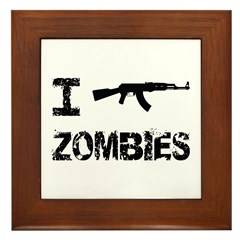 I Shoot Zombies Framed Tile