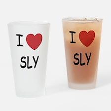 I heart sly Drinking Glass