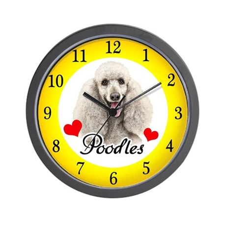 Love Poodles Wall Clock