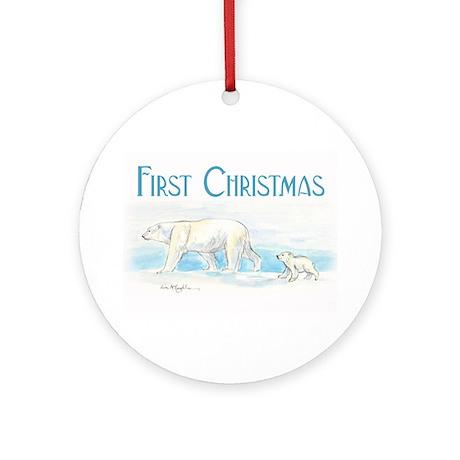 First Christmas Polar Bears Ornament (Round) Ornam