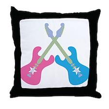 Guitar Rock Pink N Blue Throw Pillow