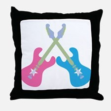 Guitar Rock Pink N Blue Throw Pillow