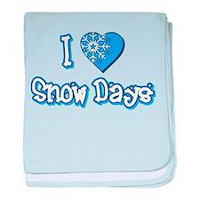 I Love [Heart] Snow Days baby blanket