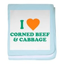 I Love Corned Beef & Cabbage baby blanket