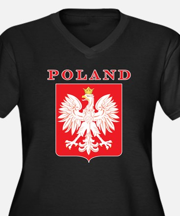 Poland Eagle Red Shield Women's Plus Size V-Neck D
