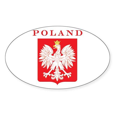 Poland Eagle Red Shield Sticker (Oval)
