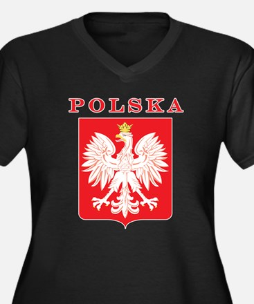Polska Eagle Red Shield Women's Plus Size V-Neck D