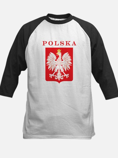 Polska Eagle Red Shield Kids Baseball Jersey
