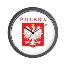 Polska Eagle Red Shield Wall Clock