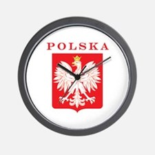 Polska Eagle Red Shield Wall Clock