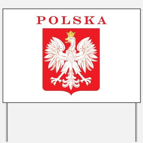 Polska Eagle Red Shield Yard Sign