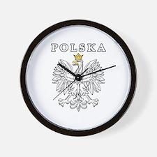 Polska With Polish Eagle Wall Clock
