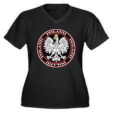 Round Polish Eagle Women's Plus Size V-Neck Dark T