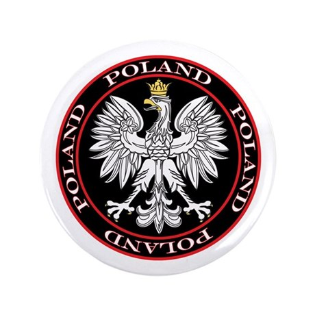 "Round Polish Eagle 3.5"" Button"