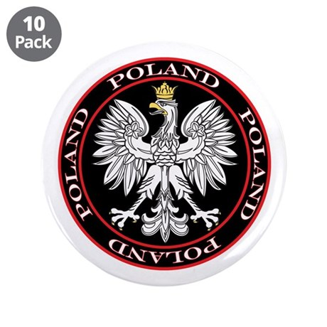 """Round Polish Eagle 3.5"""" Button (10 pack)"""