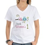 Custom Owl Birthday Women's V-Neck T-Shirt