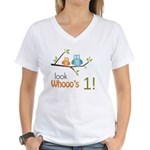 Custom Owl Birthday Women's V-Neck T-Shirt