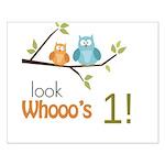 Custom Owl Birthday Small Poster