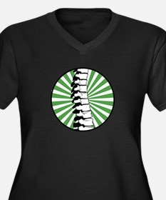 Green Burst Spine Women's Plus Size V-Neck Dark T-