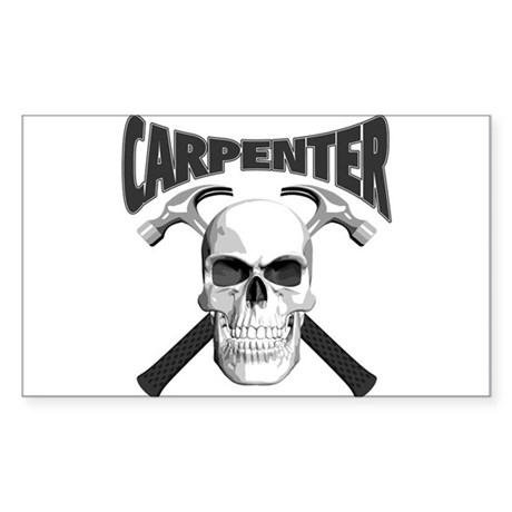 Carpenter Skull Sticker (Rectangle)