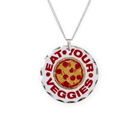 Pizza is not a Veggie Necklace Circle Charm