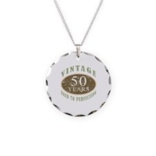 Vintage 50th Birthday Necklace Circle Charm