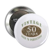 "Vintage 50th Birthday 2.25"" Button"