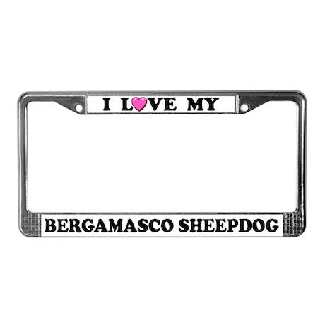 I Love My Bergamasco Sheepdog License Plate Frame
