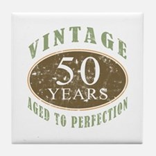 Vintage 50th Birthday Tile Coaster