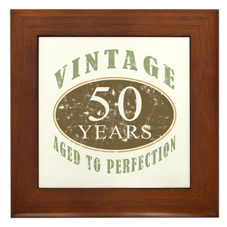 Vintage 50th Birthday Framed Tile