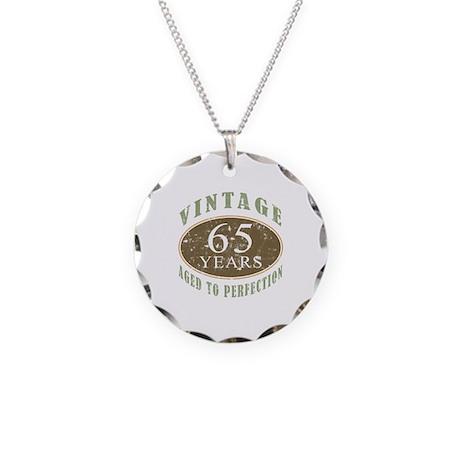 Vintage 65th Birthday Necklace Circle Charm