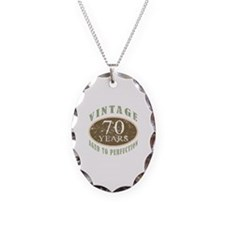 Vintage 70th Birthday Necklace Oval Charm