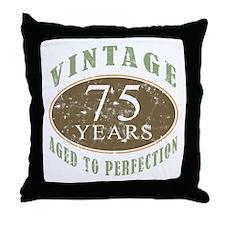Vintage 75th Birthday Throw Pillow