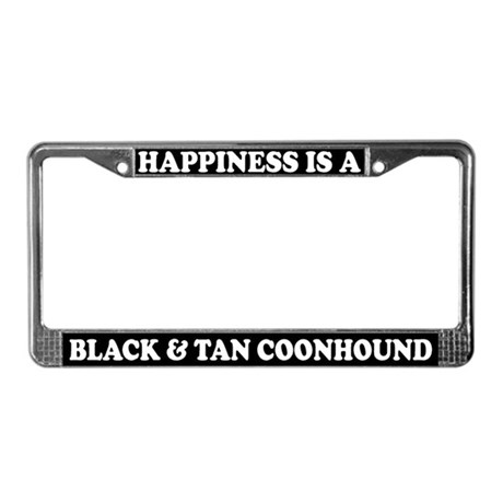 Happy Black & Tan Coonhound License Plate Fram