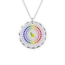 Cat Rainbow Studs Necklace Circle Charm