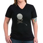 USB Crystal Ball Women's V-Neck Dark T-Shirt