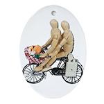 Two on Bike Picnic Basket Ornament (Oval)