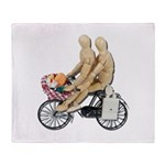 Two on Bike Picnic Basket Throw Blanket