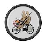 Two on Bike Picnic Basket Large Wall Clock