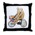 Two on Bike Picnic Basket Throw Pillow