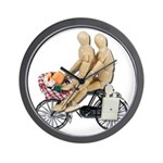Two on Bike Picnic Basket Wall Clock