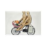 Two on Bike Picnic Basket Rectangle Magnet (100 pa