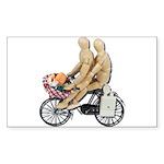 Two on Bike Picnic Basket Sticker (Rectangle 10 pk