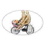 Two on Bike Picnic Basket Sticker (Oval 10 pk)