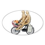 Two on Bike Picnic Basket Sticker (Oval)